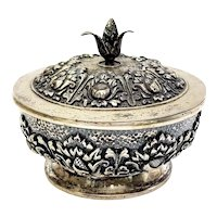 Antique 800 Silver Repousse Lidded Bowl