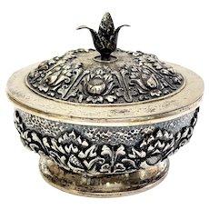 Antique 800 Silver Repousse Lidded Bowl
