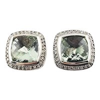 Vintage David Yurman Sterling Silver and 18K Gold Prasiolite and Diamond Earrings