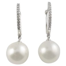 Vintage 18 Karat Pearl and Diamond Earrings