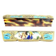 Antique Italian 800 Silver Gold Vermeil Hand Painted Enamel Comb