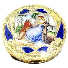 Antique Italian 800 Silver Gold Vermeil Hand Painted Enamel Round Compact