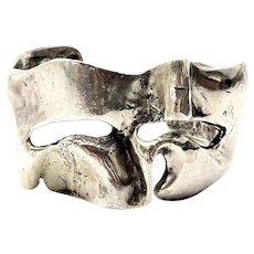 JAD Sterling Silver Brutalist Free Form Cuff Bracelet