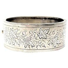 Antique Etched Leaf Sterling Silver Bangle Bracelet