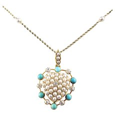 Antique 10 Karat Yellow Gold Turquoise, Pearl and Diamond Heart Hair Locket Necklace