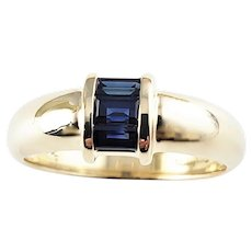 Vintage Tiffany & Co 18 Karat Yellow Gold and Sapphire Ring Size 7.5