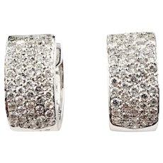 Vintage 18 Karat White Gold Diamond Hoop Earrings