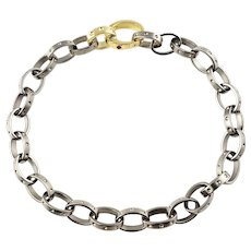 Vintage Stainless Steel and 18 Karat Yellow Gold Link Bracelet