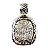 Vintage David Yurman Sterling Silver 18 Karat Yellow Gold and Diamond Pendant