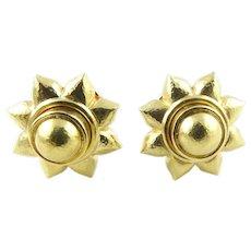 Elizabeth Locke 18K Hammered Yellow Gold Chunky Flower Earrings