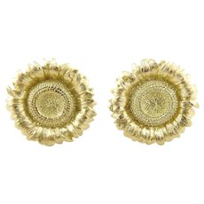 Bielka 18K Yellow Gold Large Sunflower Earrings Clip On