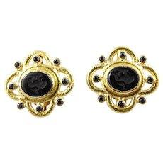 Elizabeth Locke 19K Hammered Yellow Gold Black Venetian Glass Intaglio Earrings