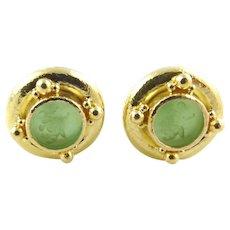 Elizabeth Locke 18K Hammered Yellow Gold Green Venetian Glass Intaglio Earrings