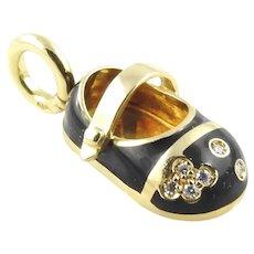 Aaron Basha 18K Yellow Gold Diamond and Black Enamel Baby Shoe Charm / Pendant