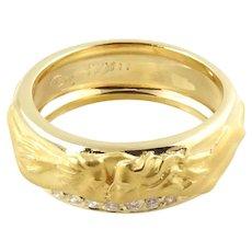Carrera Y Carrera 18K Yellow Gold Kissing Couple Diamond Band Size 5.75