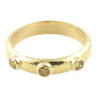 Elizabeth Locke 18K Hammered Yellow Gold and Yellow Diamond Stacking Band Ring