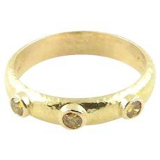 Elizabeth Locke 18K Hammered Yellow Gold and Yellow Diamond Stacking Band Ring