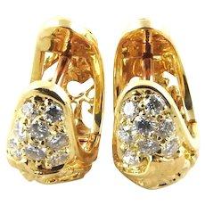 Carrera Y Carrera 18K Yellow Gold Diamond Filigree Hoop Earrings
