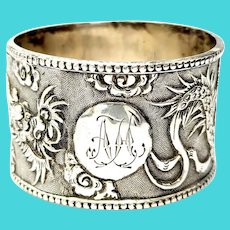 Antique Chinese Export Silver Dragon Napkin Ring