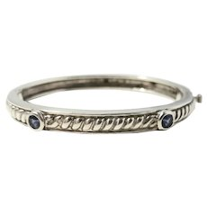 Judith Ripka Sterling Silver Purple Amethyst Cable Bangle Bracelet