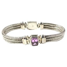Sarda Sterling Silver Three Strand Pink Gemstone Bracelet
