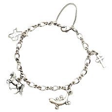 """James Avery Sterling Silver Charm Bracelet With 4 Charms, 7.5"""""""