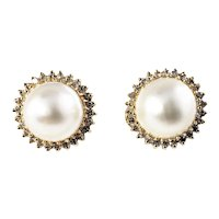 Vintage 14 Karat Yellow Gold Pearl and Diamond Clip On Earrings