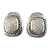 Vintage David Yurman Sterling Silver and 18 Karat Yellow Gold Diamond Earrings
