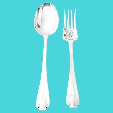 Antique Tiffany & Co Flemish Sterling Silver Cold Meat Serving Fork & Vegetable Serving Spoon A