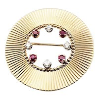 Vintage Tiffany & Co 14 Karat Yellow Gold Ruby and Diamond Brooch/Pin