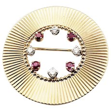 Vintage Tiffany & Co 14 Karat Yellow Gold Ruby and Diamond Brooch/Pin