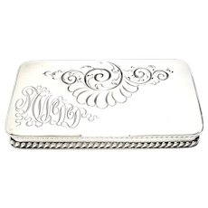 Antique Howard & Co Sterling Silver 3 Compartment Stamp Box
