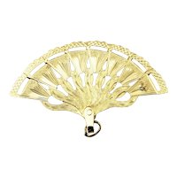 Vintage 18 Karat Yellow Gold Fan Charm