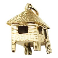 Vintage 14 Karat Yellow Gold Hut Charm