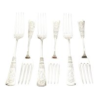 Set of 6 Gorham Fontainbleau Sterling Silver Forks