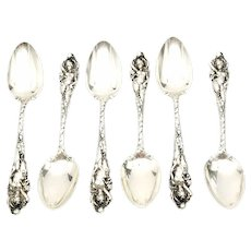 """Set of 6 Reed & Barton Sterling Silver Love Disarmed 5"""" Youth Spoons"""