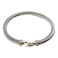 Vintage David Yurman Sterling Silver and Diamond Cable Buckle Bracelet