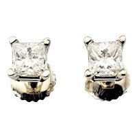 Vintage 18 Karat White Gold Princess Cut Diamond Stud Earrings
