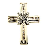 Vintage 14 Karat Yellow Gold and Diamond Cross Pendant