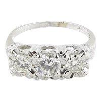 Vintage 14K White Gold 3 Stone Diamond Ring 1.2cts Size 7