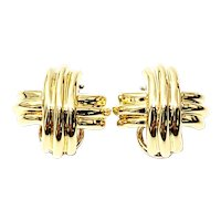 Vintage Tiffany & Co 18K Yellow Gold Signature X Clip-On Earrings