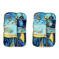 "David Andersen Norway Four Seasons ""Spring"" Sterling Silver Enamel Clip-On Earrings"