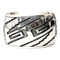 Mexico Sterling Silver Overlay Wide Cuff Bracelet