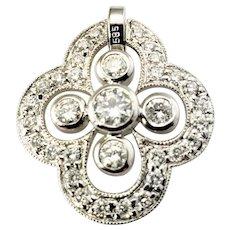Vintage 14 Karat White Gold Diamond Pendant