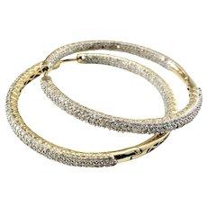 Vintage 14 Karat Yellow Gold Diamond Hoop Earrings