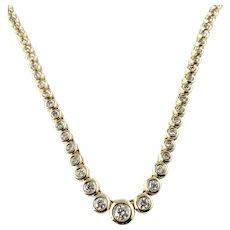 Vintage 14 Karat Yellow Gold Diamond Necklace