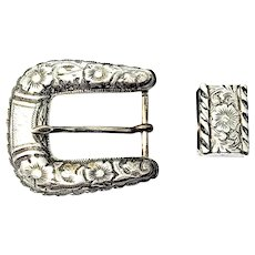 Vintage Mexican Sterling Silver Chased Belt Buckle and Keeper