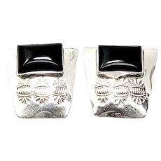 Vintage Native American M Begay Sterling Silver Onyx Earrings