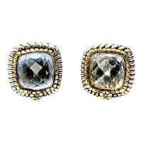 Judith Ripka JR TWO Sterling Silver 18K Yellow Gold Blue Quartz Diamond Earrings