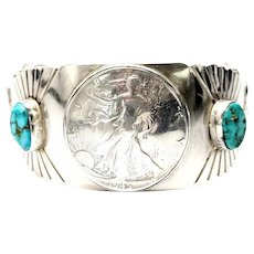 Running Bear Shop Sterling Silver Turquoise and Walking Liberty Half Dollar Cuff Bracelet